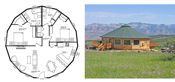 Left, the floorplan of Agar's soon-to-be Deltec model home, an 1,165 sq ft Monterey. Right, an example of a Monterey built in Colorado.